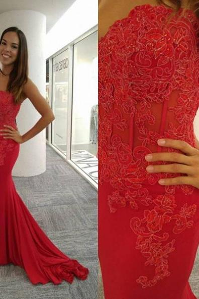Red Appliques Mermaid Stretch Satin Prom Dresses 2017