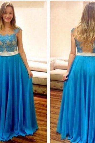Blue Sheath/Column Sleeveless Natural Zipper Floor-Length Chiffon Prom Dresses 2017