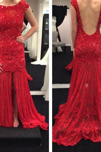 Red Backless Lace Appliques Prom Dresses 2017