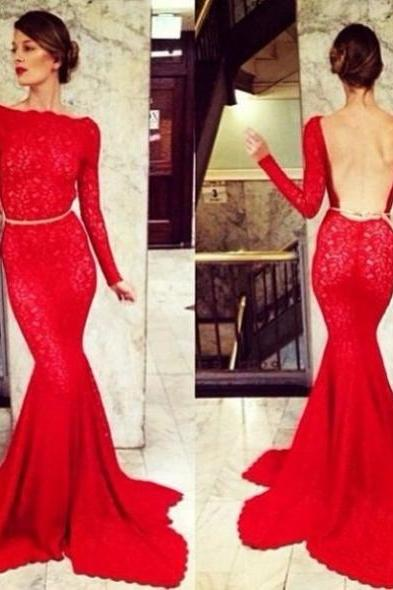 Red Bateau Neck Long Sleeves Mermaid Lace Prom Dresses 2017