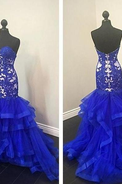 Blue Prom Dresses 2017 Sweetheart Appliques Tiers Mermaid