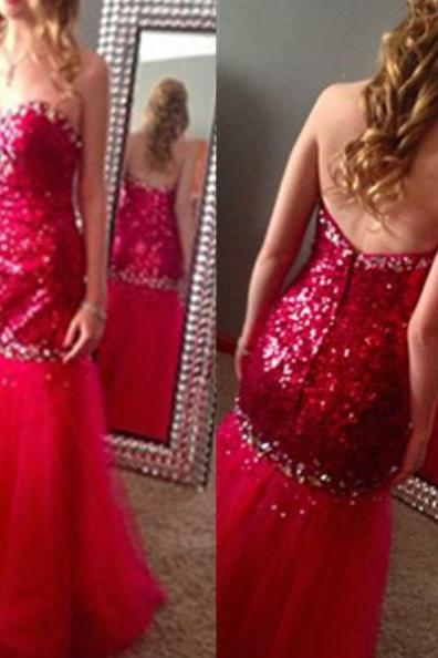 Red Sweetheart Mermaid Beading Zipper Tulle Prom Dresses 2017