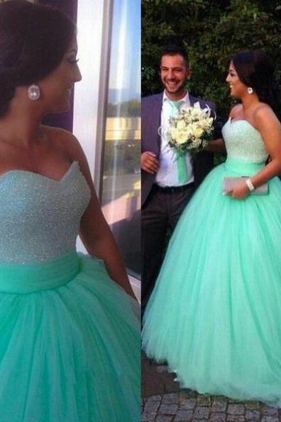 Long Ball Gown Sweetheart Tulle Prom Dresses 2017