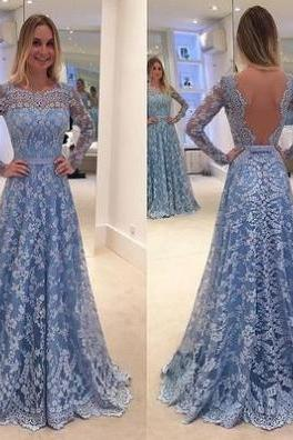 Blue Illusion Backless A-line Lace Prom Dresses 2017