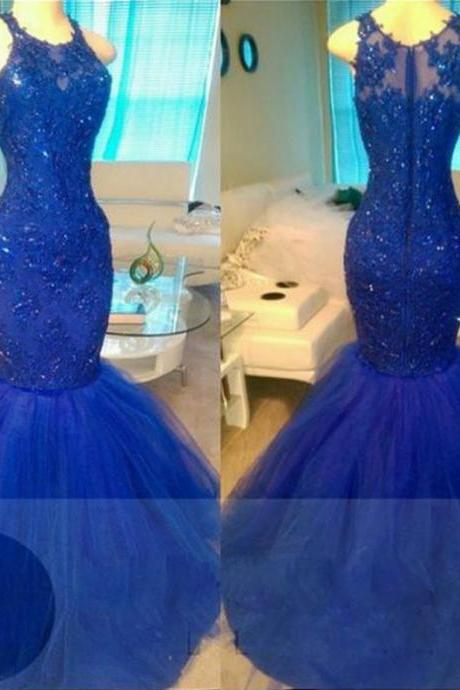 Navy Blue Beading Appliques Mermaid Tulle Prom Dresses 2017