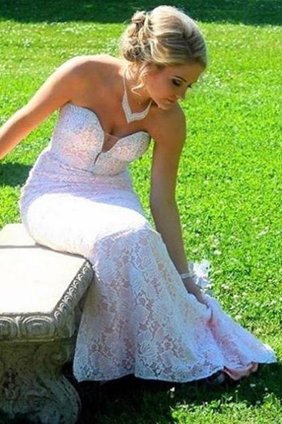 White Sweetheart Lace Mermaid Prom Dresses 2017