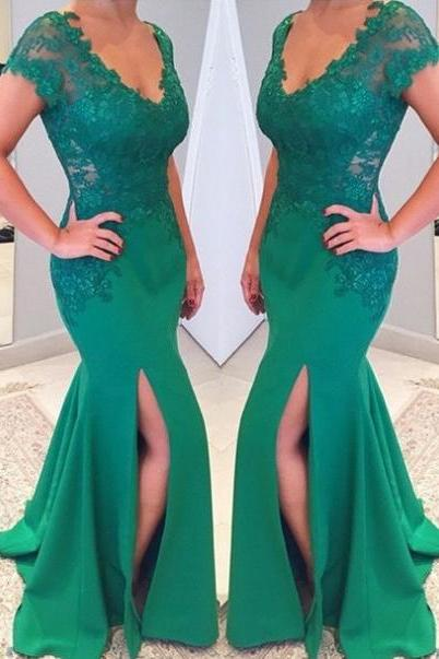 Short Sleeves Scoop Neck Split Front Floor-length Mermaid Prom Dresses 2017
