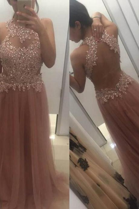 Beading Appliques Halter Open Back A-line Tulle Prom Dresses 2017