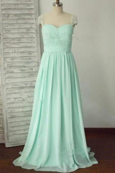 Long A-Line Sweetheart Chiffon Prom Dresses 2017