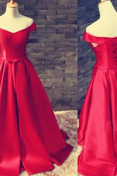 Red Long A-line Off-the-Shoulder Lace Up Satin Prom Dresses 2017