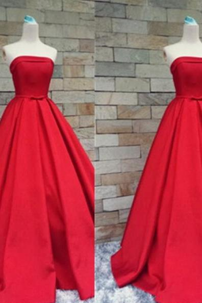 Red Long A-Line Strapless Floor-length Satin Prom Dresses 2017