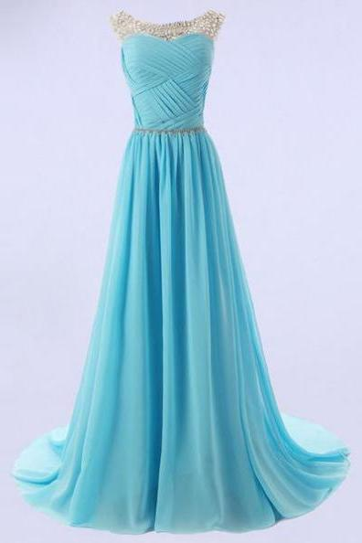 Blue Long A-Line Beading Sweep/Brush Train Chiffon Prom Dresses 2017