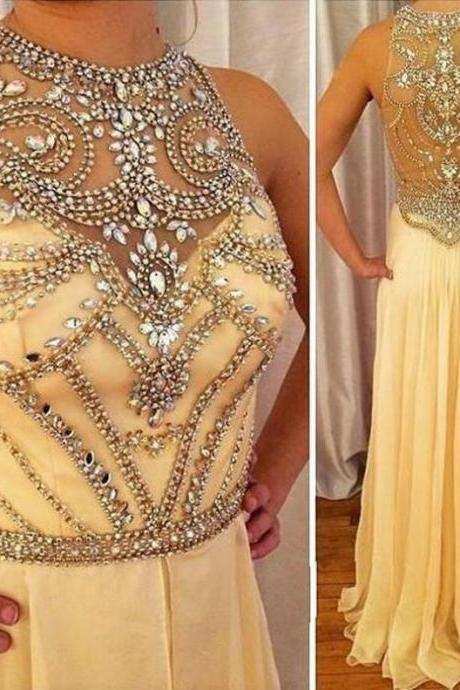 A-line Jewel Sleeveless Natural Zipper Floor-Length Chiffon Prom Dresses 2017