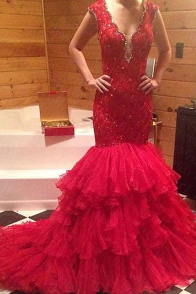 Tiered Beading V-Neck Mermaid Tulle Prom Dresses 2017