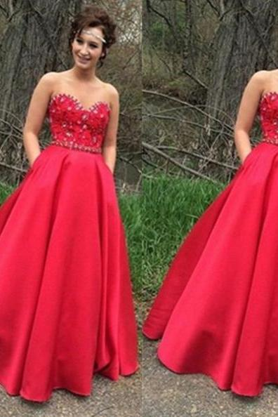 Red Long A-Line Strapless Crystal Detailing Satin Prom Dresses 2017