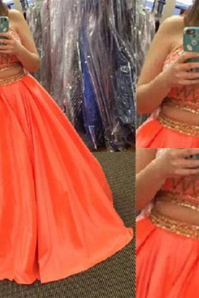 Long A-line High Neck Beading Two Pieces Satin Prom Dresses 2017