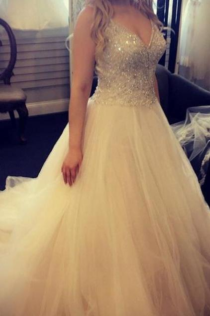 Prom Dresses 2017 Spaghetti Straps Sequins Ball Gown Organza
