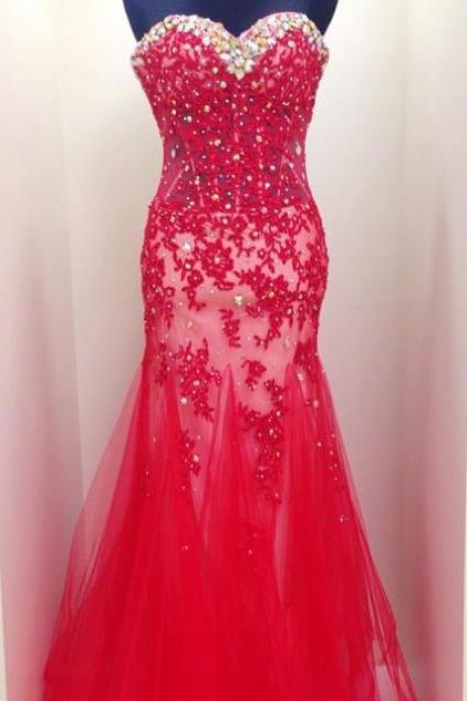 Red Beading Appliques Mermaid Tulle Prom Dresses 2017