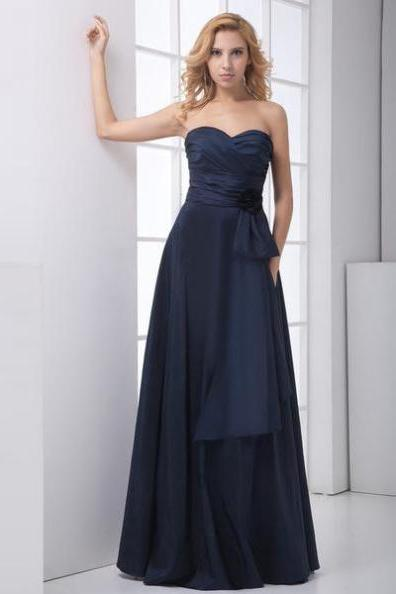 Blue Prom Dresses 2017 A-line Sweetheart Sleeveless Natural Zipper Floor-length Satin Ruching