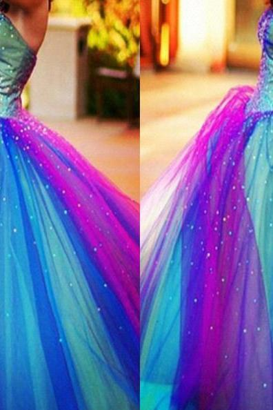 Strapless Floor-length Ball Gown Tulle Prom Dresses 2017