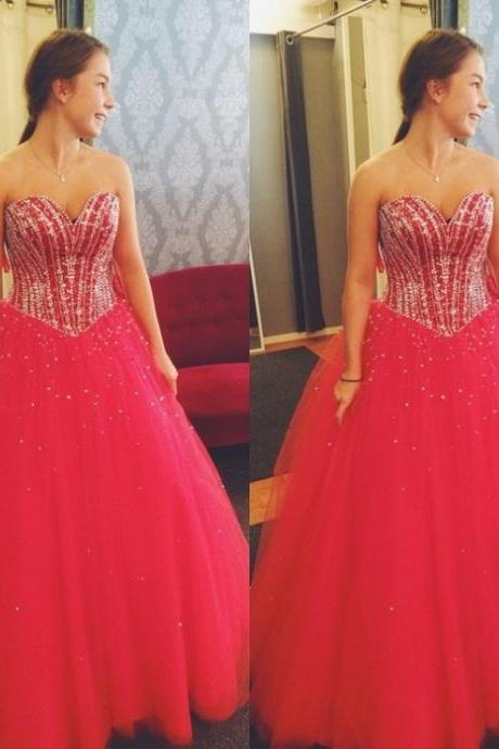 Red Sweetheart Ball Gown Tulle Prom Dresses 2017