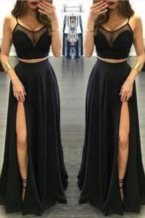 Black Spaghetti Straps High-Slit Chiffon Two Pieces Prom Dresses 2017
