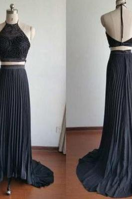 Black Sweep Train Halter Stretch Satin Two Pieces Prom Dresses 2017