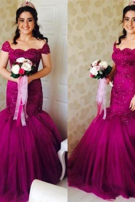 Beading Off-the-Shoulder Mermaid Tulle Prom Dresses 2017