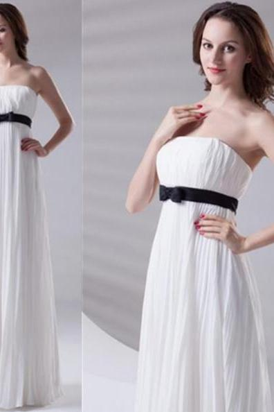 White Prom Dresses 2017 A-Line Strapless Sleeveless Empire Floor-Length Chiffon
