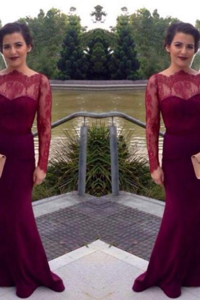 Red Illusion Long Sleeve Mermaid Prom Dresses 2017