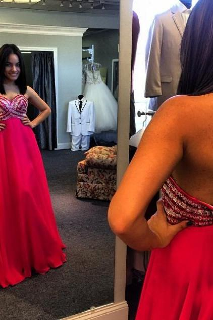 Red Crystal Backless Detailing A-line Chiffon Prom Dresses 2017