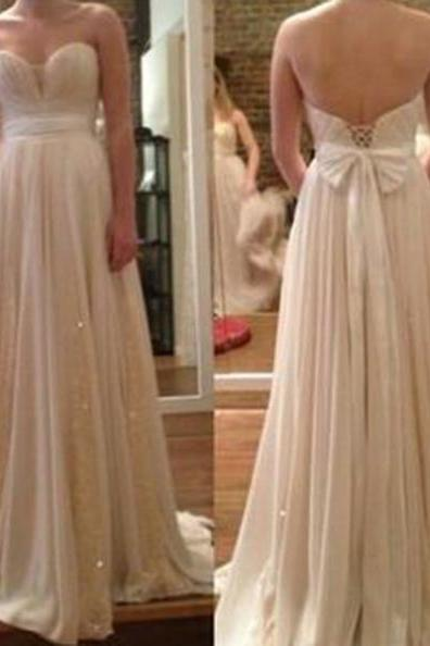 A-Line Sweetheart Sleeveless Natural Lace-up Prom Dresses 2017