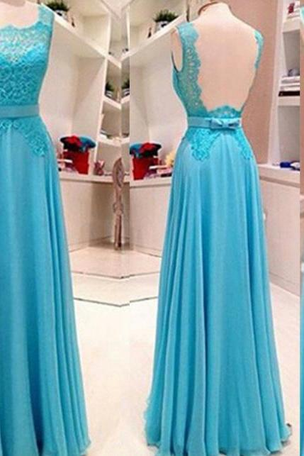 Blue Square Neck Lace Sleeveless A-line Chiffon Prom Dresses 2017