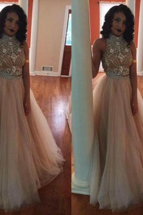 White High Neck Floor-length Ball Gown Tulle Prom Dresses 2017