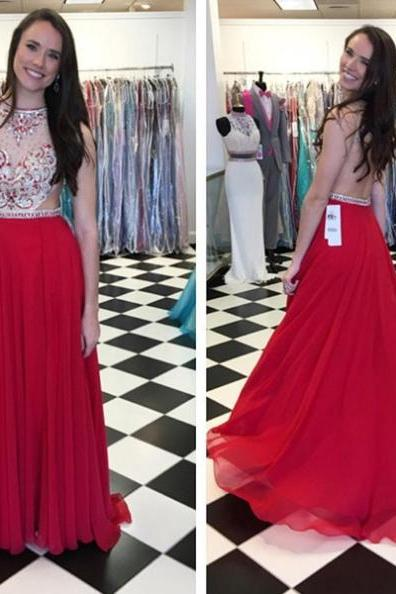 Red Beading A-line Chiffon Prom Dresses 2017