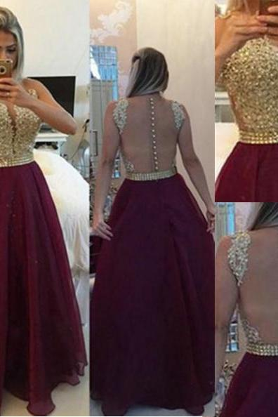 Red Long A-line Zipper Beading Chiffon Prom Dresses 2017