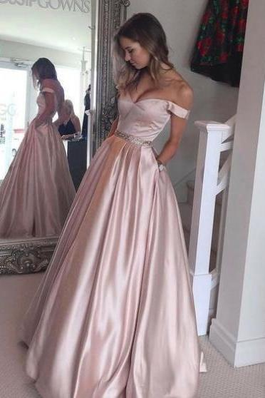 Pink Sexy Sweetheart A-line Satin Prom Dresses 2017
