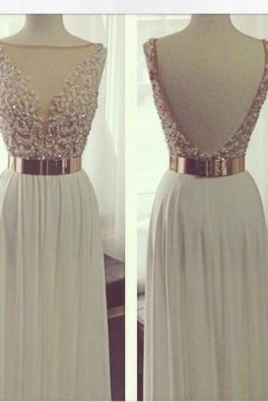 White Long A-Line V-Neck Beading Chiffon Prom Dresses 2017