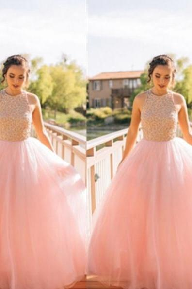 Beading Sleeveless Floor-length Ball Gown Tulle Prom Dresses 2017