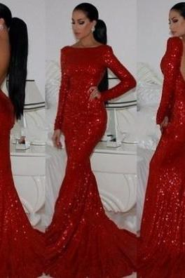 Red Trumpet/Mermaid Bateau Long Sleeve Backless Sequined Prom Dresses 2017