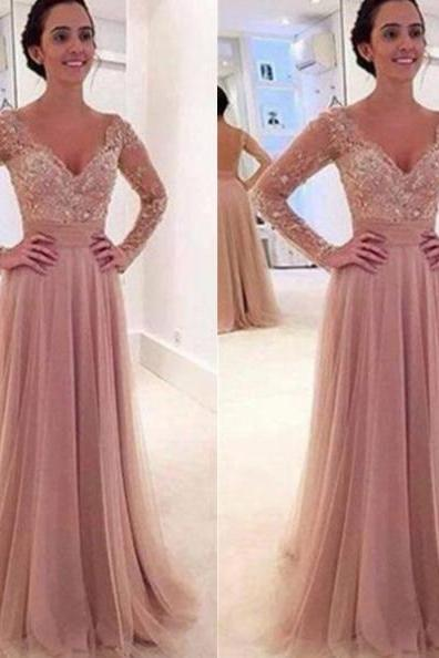 A-Line V-Neck Long Sleeves Backless Tulle Prom Dresses 2017