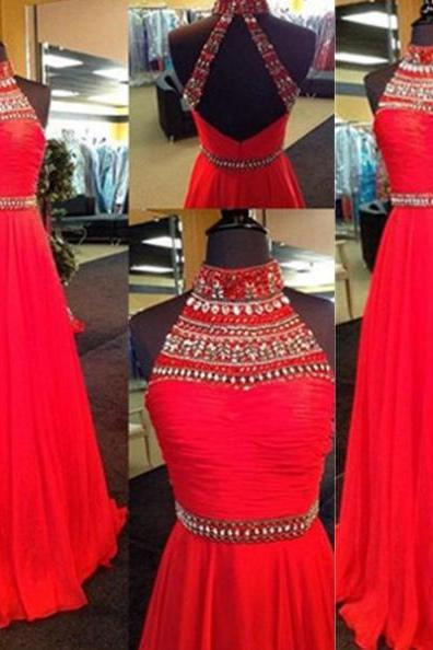 Red Long A-line High Neck Beading Chiffon Prom Dresses 2017