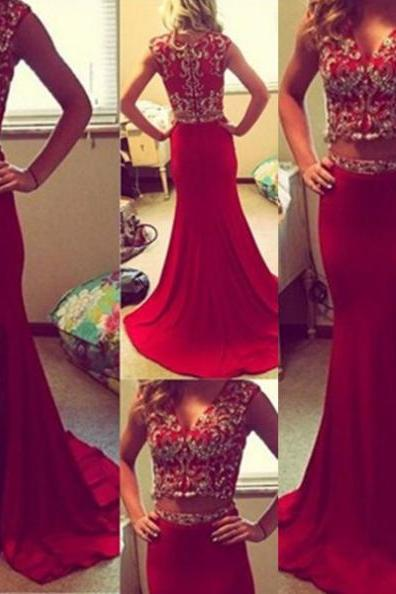 Red A-Line V-Neck Sleeveless Natural Zipper Sweep/Brush Train Prom Dresses 2017