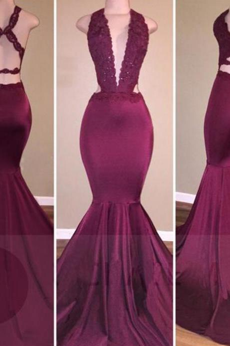 Purple Sexy Appliques Trumpet/Mermaid Stretch Satin Prom Dresses 2017