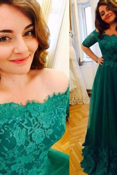 Green Off-the-Shoulder Half Sleeves Lace A-line Tulle Prom Dresses 2017