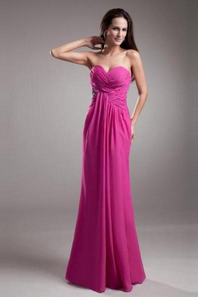 Prom Dresses 2017 Trumpet/Mermaid Sweetheart Sleeveless Floor-Length Chiffon Ruching