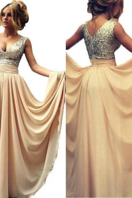 Beading Sheer High-Slit Chiffon Prom Dresses 2017