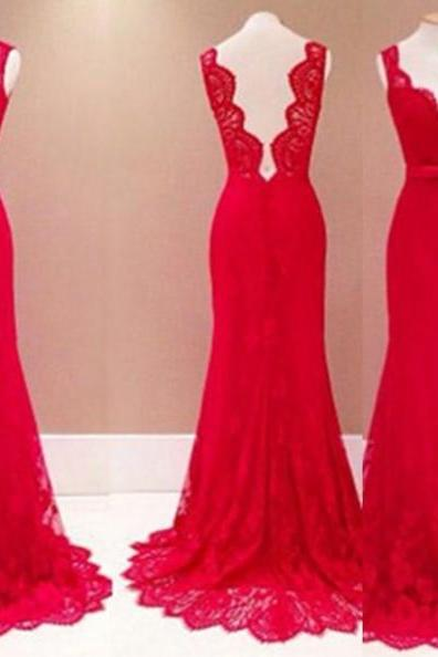 Red Long Trumpet/Mermaid Sweetheart Lace Prom Dresses 2017