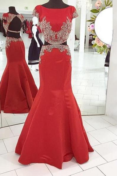 Red Capped Sleeves Crystal Backless Mermaid Satin Prom Dresses 2017