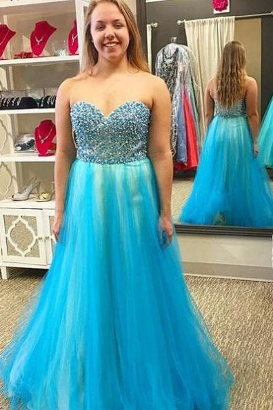 Blue Prom Dresses 2017 Sleeveless Sweetheart Beading A-line Tulle